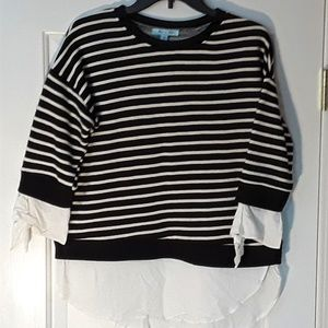 She + Sky Striped Shirt with Blouse Trim - Small